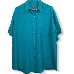 Maurices vintage green silk shirt sleeve shirt top